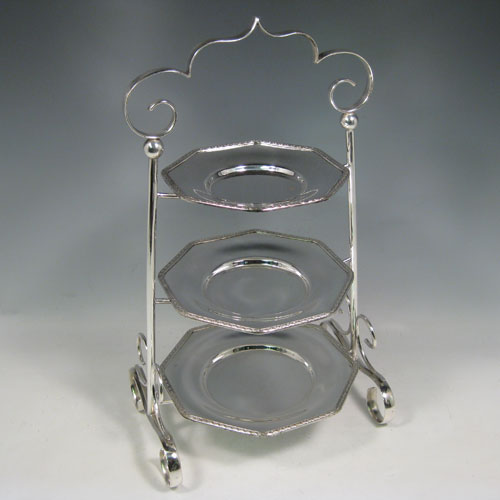Antique Edwardian silver plated three-tier cake stand having a graduated suite of three & Cake Stands in Antique Sterling Silver Bryan Douglas Antique ...