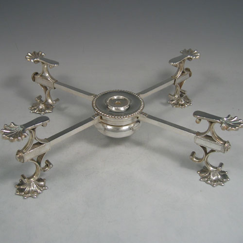 Antique Georgian Old Sheffield plated dish cross made in ca. 1780. Length 32 cms. (Crested).
