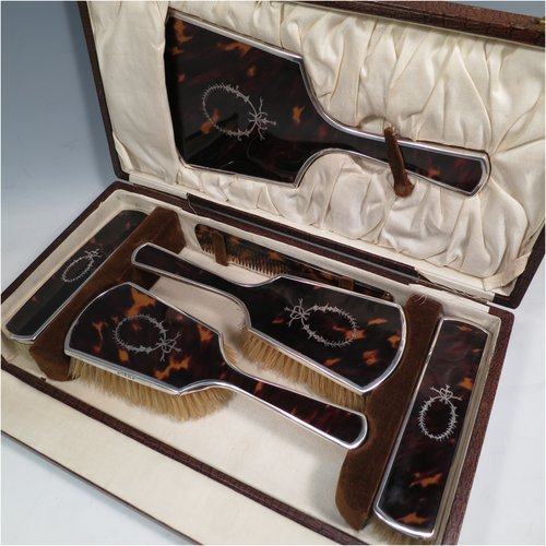 Dressing Table Sets In Antique Sterling Silver Bryan