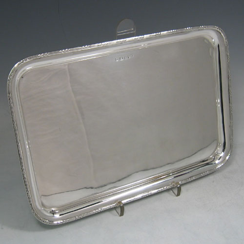 Sterling silver dressing table tray made in Birmingham in 1916. Length 29 cms, width 20 cms.