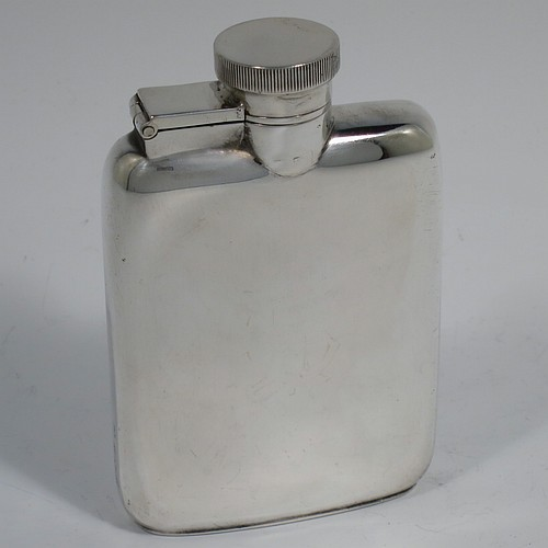 A Sterling Silver whisky hip flask, having a plain shaped rectangular body with rounded shoulders, and a bayonet-fit lid. Made by William Neale Ltd., of Birmingham 1919. The dimensions of this fine hand-made silver hip whisky flask are length 9.5 cms (3.75 inches), width 6 cms (2.3 inches), depth 2 cms (0.75 inch), and it weighs approx. 96g (3 troy ounces).