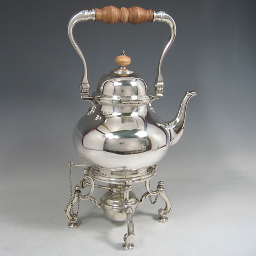 Sterling silver 'George I' style kettle on burner and stand, made in Birmingham 1930. Height 38 cms, length 21 cms.