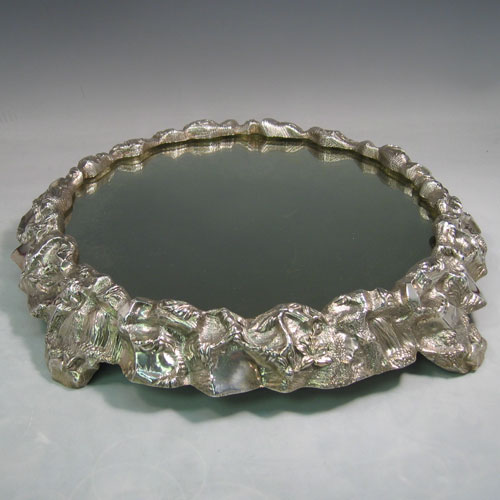 Antique Victorian cast silver-plated 'rock & floral' style mirror plateau made in ca. 1860. Diameter 43 cms.