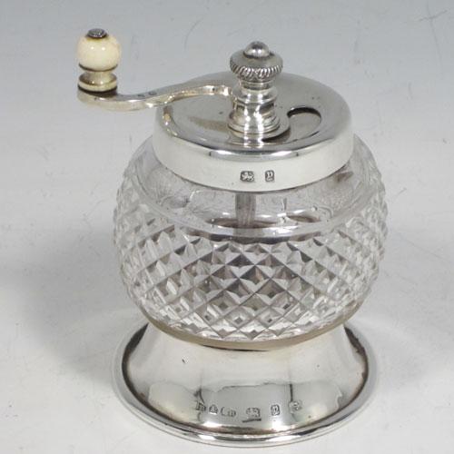Pepper Grinders In Antique Sterling Silver Bryan Douglas