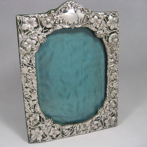 antique victorian sterling silver art nouveau photograph frame made by henry matthews of birmingham in 1901