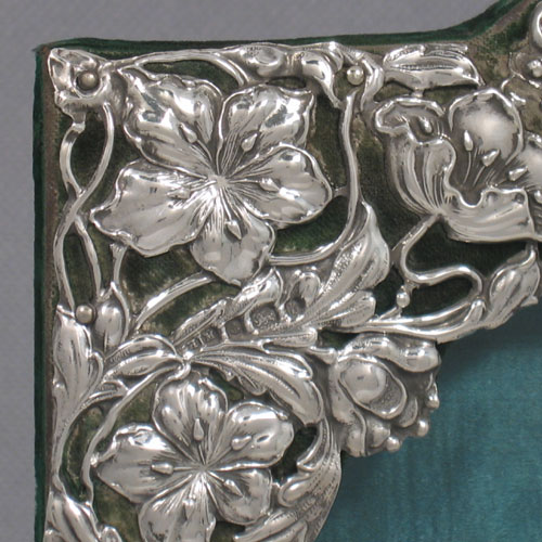 Antique Victorian sterling silver Art Nouveau photograph frame made by Henry Matthews of Birmingham in 1901. Height 20 cms, width 15 cms.