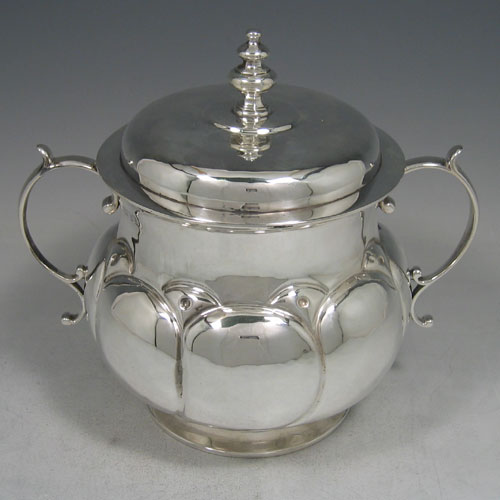 Britannia standard silver large poringer with lid, made by R.F. Fox of London in 1912. Height 19 cms, width 21 cms. Weight approx. 27 troy ounces.