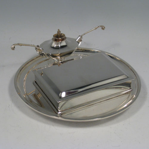 Antique Victorian sterling silver very unusual smokers accessory set with removable cigarette box, and double wick lighters. Made by George Fox of London in 1888. Diameter of plate 16.5 cms (6.5 inches).