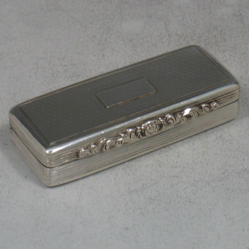 Antique early Victorian sterling silver snuff box made by Edward Smith of Birmingham in 1838. Length 6.5 cms, width 2.5 cms.