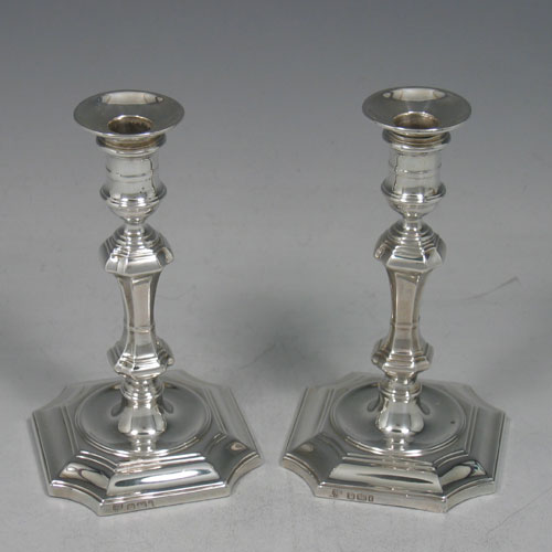 Antique Edwardian pair of sterling silver taper-sticks made by H. Eyers of Sheffield in 1901. Height 12 cms.