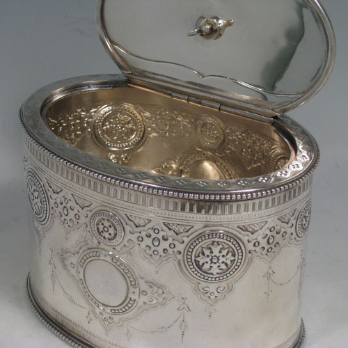 Tea Caddy Boxes In Antique Sterling Silver Bryan Douglas