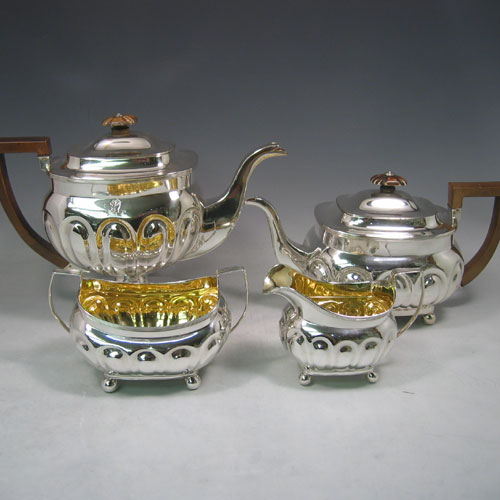 Tea And Coffee Sets In Antique Sterling Silver Bryan