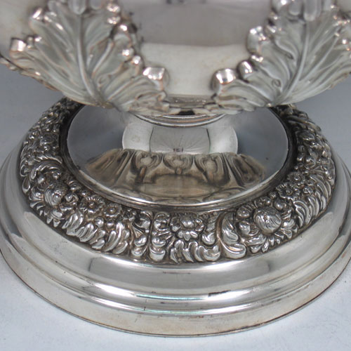 Antique Georgian Old Sheffield plated wine cooler made in ca. 1825. (Crested front and rear). Height 32 cms, diameter 21 cms.